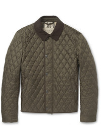 Оливковая стеганая куртка с воротником и на пуговицах