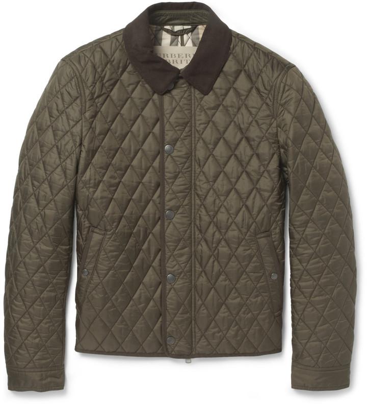 ... Оливковая стеганая куртка с воротником и на пуговицах от Burberry ... 2f192a9e153