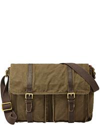 Оливковая сумка почтальона из плотной ткани