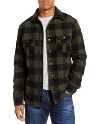 Оливковая фланелевая куртка-рубашка в клетку