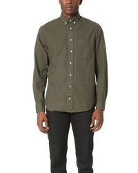 Оливковая фланелевая рубашка с длинным рукавом