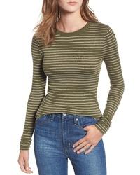 Оливковая футболка с длинным рукавом в горизонтальную полоску
