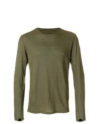 Оливковая футболка с длинным рукавом