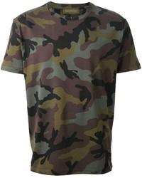 Оливковая футболка с круглым вырезом с камуфляжным принтом