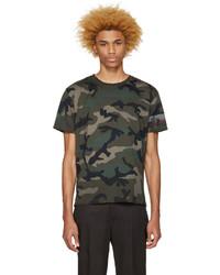 Мужская оливковая футболка с круглым вырезом с камуфляжным принтом от Valentino