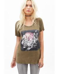 Оливковая футболка с круглым вырезом с принтом