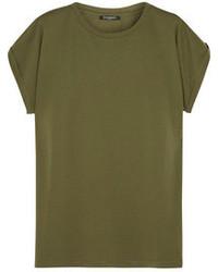 Оливковая футболка с круглым вырезом