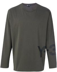 Мужская оливковая футболка с круглым вырезом от Y-3