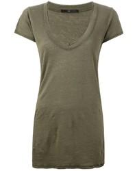Оливковая футболка с v-образным вырезом