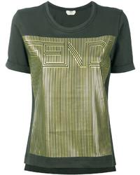 Женская оливковая футболка от Fendi