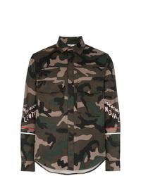 Мужская оливковая хлопковая куртка-рубашка с камуфляжным принтом от Valentino