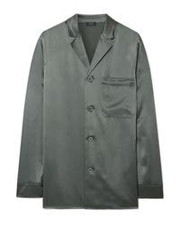 Оливковая шелковая классическая рубашка