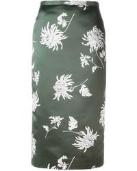 Оливковая шелковая юбка-карандаш с принтом от Rochas
