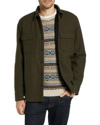 Оливковая шерстяная куртка-рубашка