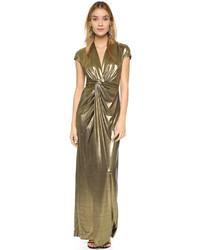 Оливковое вечернее платье