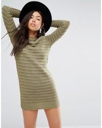 Оливковое вязаное платье-свитер от Boohoo