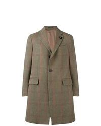 Оливковое длинное пальто в клетку от Lardini
