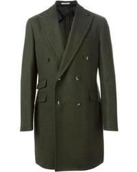 Оливковое длинное пальто