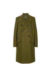 Оливковое длинное пальто от Rick Owens