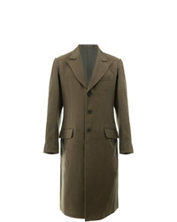 Оливковое длинное пальто от Yohji Yamamoto