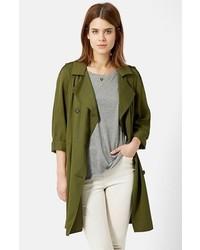 Оливковое пальто дастер