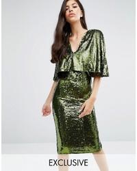 Женское оливковое платье-миди с пайетками от Club L