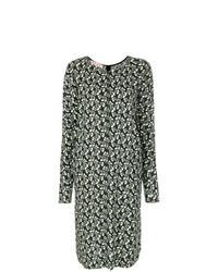 Оливковое платье-миди с цветочным принтом