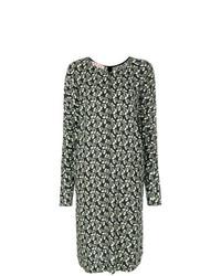 Оливковое платье-миди с цветочным принтом от Marni