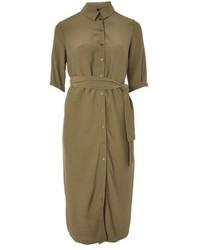 Оливковое платье-рубашка
