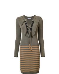 Оливковое платье-свитер в горизонтальную полоску от Sonia Rykiel