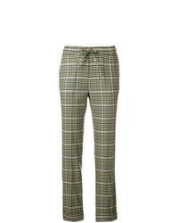 Оливковые брюки-галифе в шотландскую клетку