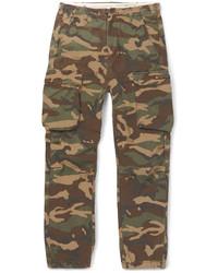 Оливковые брюки карго с камуфляжным принтом