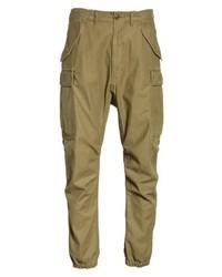 Оливковые брюки карго