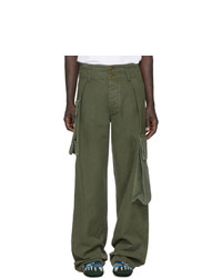 Оливковые брюки карго от Loewe