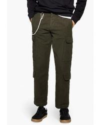 Оливковые брюки карго от Topman