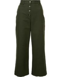 Оливковые брюки-клеш от Proenza Schouler