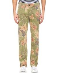 Оливковые брюки чинос с цветочным принтом