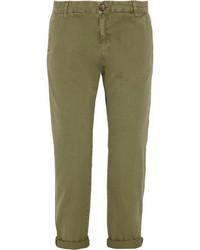 Оливковые брюки чинос