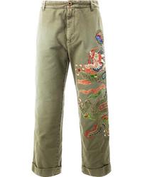 Оливковые брюки чинос от Gucci