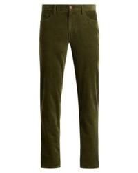 Оливковые вельветовые брюки чинос