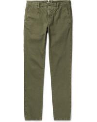 Оливковые вельветовые брюки чинос от Incotex