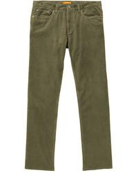Оливковые вельветовые джинсы
