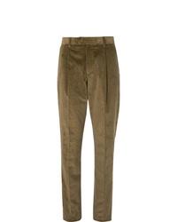 Мужские оливковые вельветовые классические брюки от Caruso