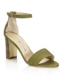 Оливковые замшевые босоножки на каблуке