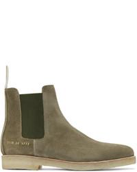 Оливковые замшевые ботинки челси