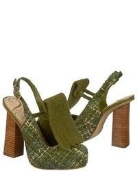 Оливковые замшевые туфли