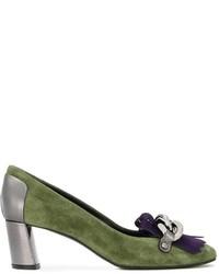 Оливковые замшевые туфли от Casadei