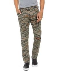 Оливковые зауженные джинсы с камуфляжным принтом