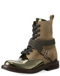 Оливковые кожаные ботинки на шнуровке