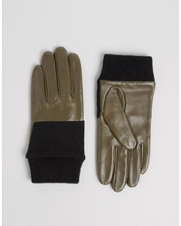 Женские оливковые кожаные вязаные перчатки от Asos